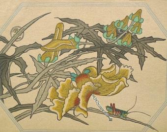 "Ukiyoe, Original Sōsaku-hanga, Woodblock print, antique, Kamei Tobei, ""Abelmoschus manihot"""