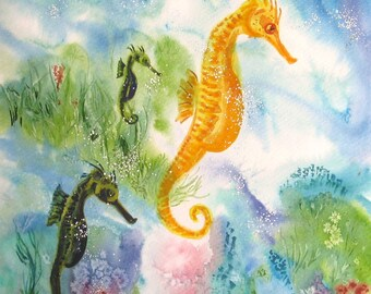 Sea Horse Painting. Sea world, sea life, coral reef ocean art. Original watercolour sea horse, sea world, aquatic OOAK art. Signed 10x14 in.