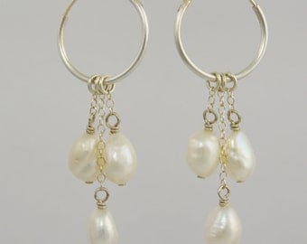 Rice Pearl Sterling Silver Hoop Dangles