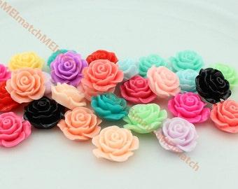 "Resin Rose Flower 20mm""0.78"" beads Flat back rose Cabochons- 30 pcs"