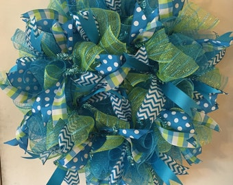 "Turquoise and Lime Green 24"" deco mesh wreath"