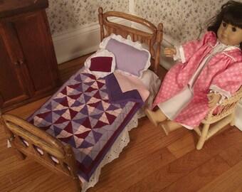 Single Oak Bed for 18 in American Doll