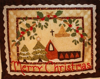 Quilt Kit - Vintage Postcard + Merry Christmas Wall Hanging
