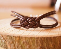 Brown Leather Bracelet, Sailor knot Bracelet, Simple Bracelet,