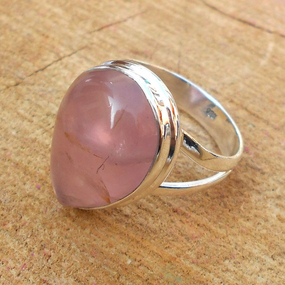 quartz ring solid silver ring pink gemstone by
