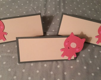 12 Perfectly Pink Pig Place Cards