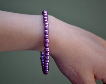 Girls Purple Beaded Bracelet