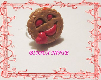 Ring child biscuit fimo bn red smile