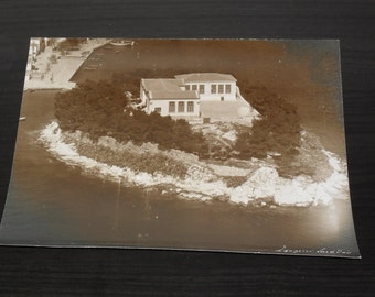Unique aerial original black and white photo of a school in Skiathos island Greece. 1950's. Dimensions 21,5 X 17,5 cm.