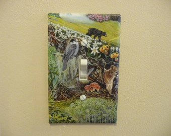 Single switch plate with wildlife scene