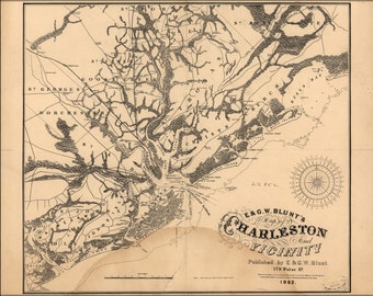 24x36 Poster; Map Of Charleston South Carolina 1862