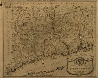 24x36 Poster; Map Of Connecticut 1797
