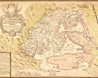 24x36 Poster; Map Of Kotor, Gulf Of Montenegro 1701 In Spanish