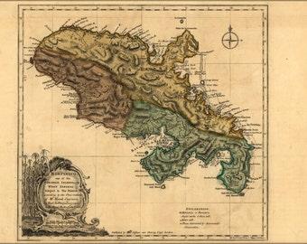 24x36 Poster; Map Of Martinico Martinique 1768