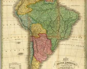 24x36 Poster; Map Of South America 1826