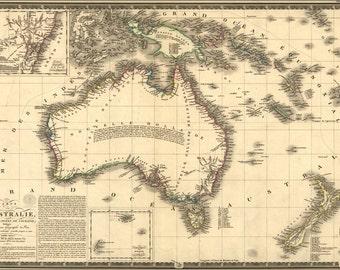 24x36 Poster; Carte De L' Australia Map 1826