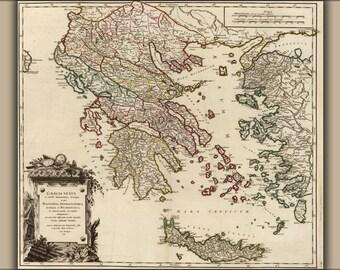 24x36 Poster; Map Of Ancient Greece, Graecia Vetus (Macedonia, Thessaly, Epirus, Achaia, Peloponnesus) C1752 By Vaugondy
