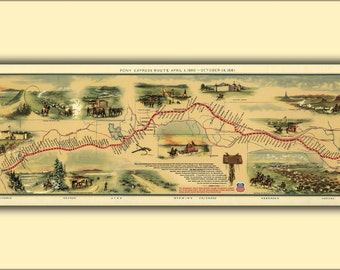 24x36 Poster; Pony Express Map, By William Henry Jackson, 1861