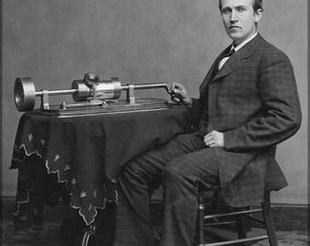 24x36 Poster; Thomas Alva Edison And His Early Phonograph C.1877