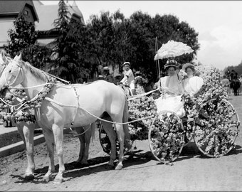 24x36 Poster; Horse-Drawn Wagon Decorated With Flowers For La Fiesta De Los Angeles (Chs-997) #031715