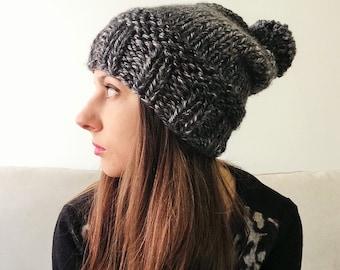 Slouchy Knit Pom Pom Hat in Charcoal
