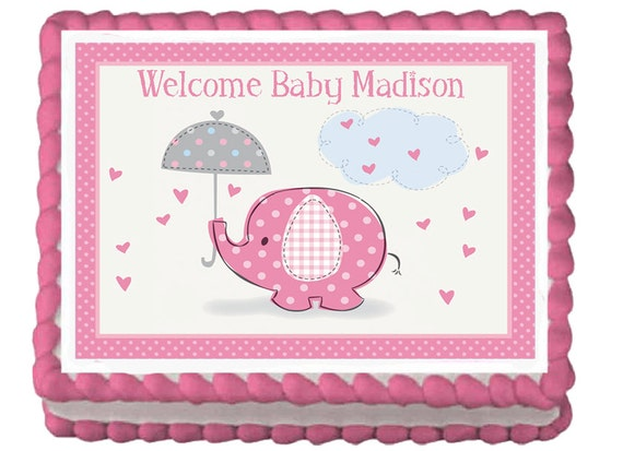 Pink Elephant Edible Baby Shower Party Cake Or Cupcake
