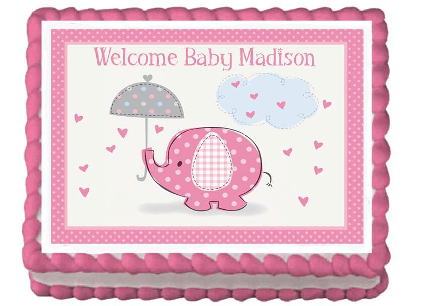 Elephant Baby Shower Sheet Cake