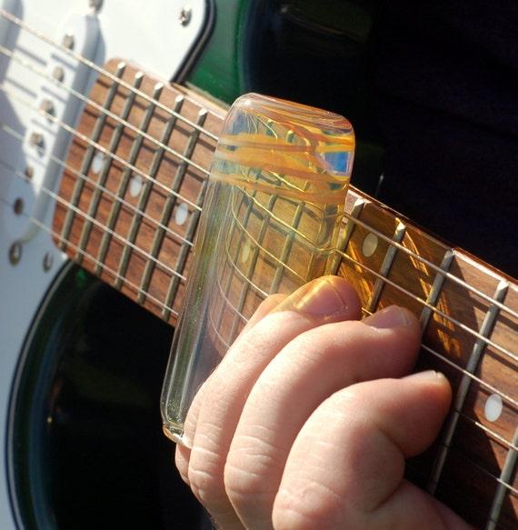 guitar slide hand blown glass silver fumed caramel colored. Black Bedroom Furniture Sets. Home Design Ideas