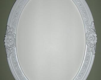 White frame oval mirror. (bathroom mirror, vanity mirror, shabby chic mirror, nursery decor