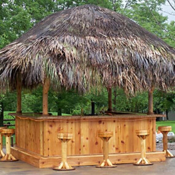 Tiki Hut Restaurant: TIKI BAR 10' X 10' Custom Red Cedar Tiki Kev Tiki