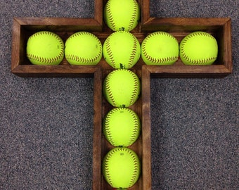 Softball Cross made of Pine custom/cross/crucifix/sports/ball/wallart/interior/decor