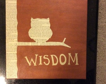 Brown Wisdom Book Owl Canvas Painting