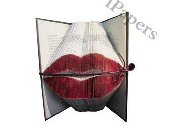 Lips - Bookfolding - Folded Book Art - Handcrafted - Booklovers gift - Original gift - Book Sculpture - Altered Book