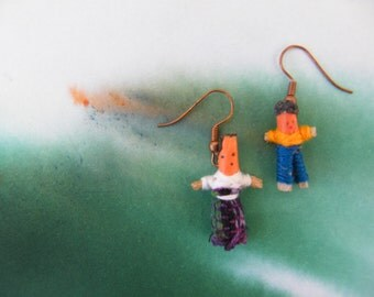 Worry doll earrings, miniature people, Guatemala style.