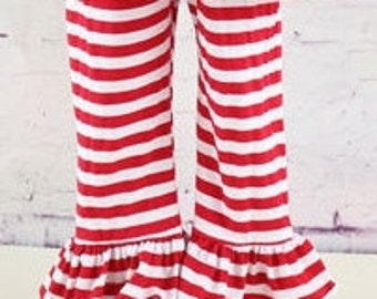 Girls Single Ruffle Striped Knit Pants in Red