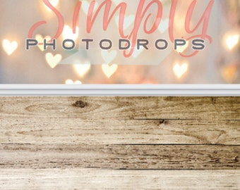 Bokeh Hearts and Light Wood Floor ALL IN ONE vinyl Photography Backdrop