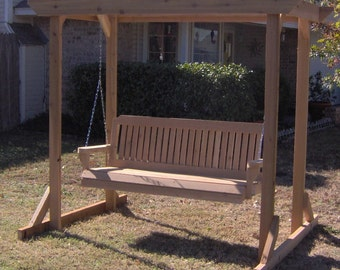 Brand New Large Pergola Cedar Garden Arbor & 5 Foot Porch Swing with Hanging Chain - Free Shipping