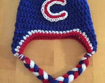 Chicago Cubs themed/inspired Chunky Earflap Hat.  Newborn. Infant. Toddler. Child. Adult.