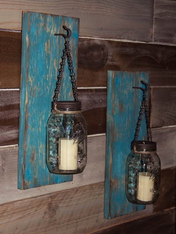 Items similar to Rustic Mason Jar Wall Sconce Distressed Turquoise/ Rustic Candle Sconce/Mason ...