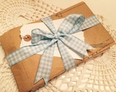 Paper Ephemera, Vintage Sewing, 5 Ounces Vintage Sewing Tissue Paper and Large Gingham Bow (S) ok