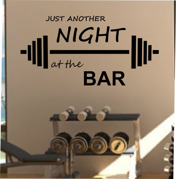 Just another night at the bar fitness wall decal by