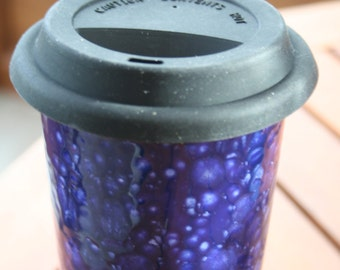 Dark blue ceramic travel mug hand decorated with white mottle effect