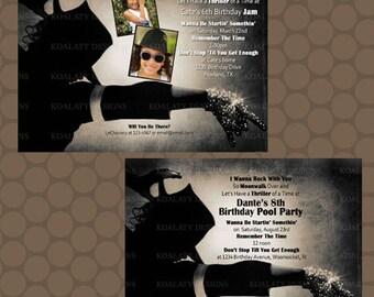 Michael Jackson Rock Star Pop Birthday Invitations Printable Uprint Digital Printed * 6 designs *
