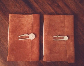 Leather Journal - Leather Journal made of Genuine Suede with Parchment Paper and Wooden button