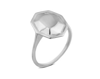 White gold statment ring, Faceted Gemstone statment ring, Bespoke 14k gold faceted ring, statment ring for women, modern engagement ring