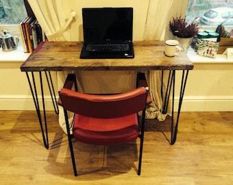 Scaffolding board laptop desk with steel hairpin legs