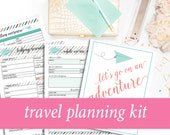 Travel Planner Kit, Vacation Planner, Packing Checklists, Pre-Travel Checklist, Trip Planner, Activity Planner, Housesitter Note Printables
