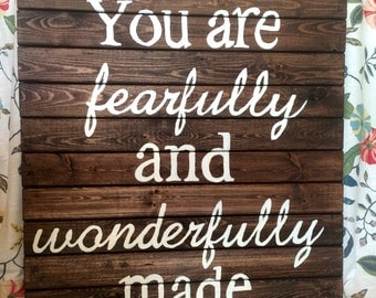 Fearfully and wonderfully made sign large hand painted wood sign for nursery