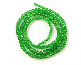 "Tsavorite garnet faceted rondelle beads AA+ 2.5-6.5mm 18"" strand"