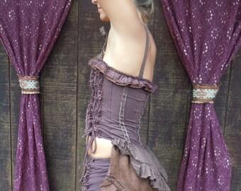 Stripe Brown Linen Lace Bustle Corset Victorian Steampunk Gypsy Costumes